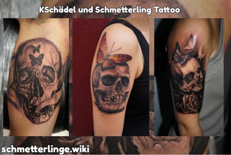 Schädel und Schmetterling Tattoo
